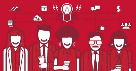 Illustrated graphic of businesspeople
